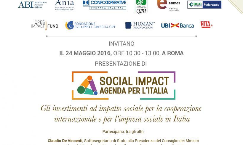 24 maggio: presentazione Social Impact Agenda per l'Italia